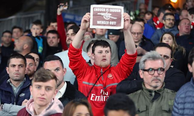 "<span class=""element-image__caption"">An Arsenal supporter makes clear his feelings at Selhurst Park on Monday night.</span> <span class=""element-image__credit"">Photograph: Nick Potts/PA</span>"