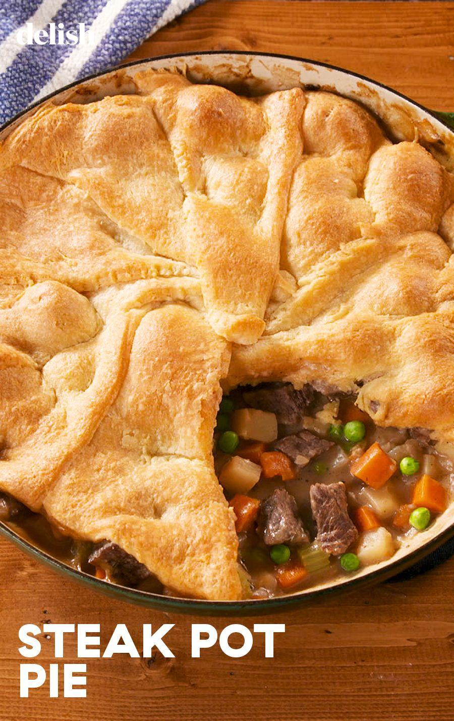 """<p>Switch things up from a chicken pot pie.</p><p>Get the recipe from <a href=""""https://www.delish.com/cooking/recipe-ideas/a29701597/steak-pot-pie-recipe/"""" rel=""""nofollow noopener"""" target=""""_blank"""" data-ylk=""""slk:Delish"""" class=""""link rapid-noclick-resp"""">Delish</a>.</p>"""
