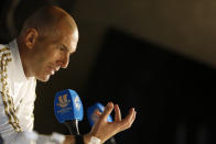 Real Madrid's head coach Zinedine Zidane speaks during a press conference in Jiddah, Saudi Arabia, Tuesday, Jan. 7, 2020. Real Madrid will play the Spanish Super Cup semifinal soccer match against Valencia at King Abdullah stadium in Jiddah tomorrow. (AP Photo/Amr Nabil)