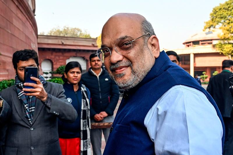 Home Minister Amit Shah at the Parliament House in New Delhi on February 1, 2020.  (Photo: PRAKASH SINGH via Getty Images)