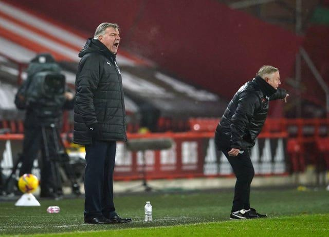 Sam Allardyce, left, shouts instructions at his team