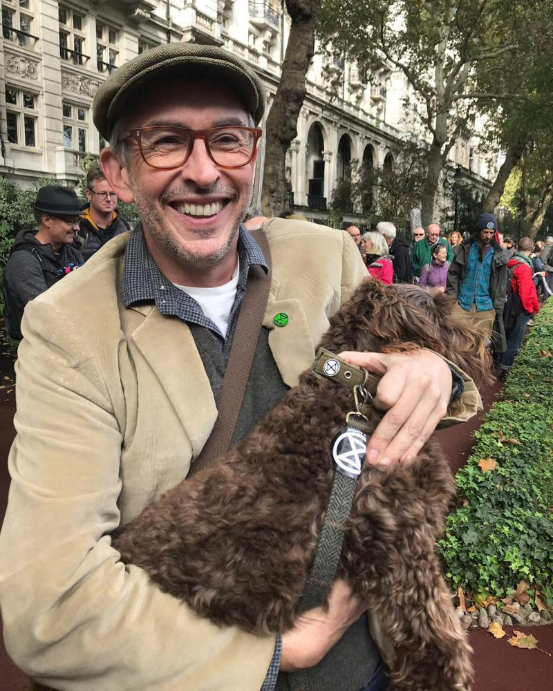Steve Coogan and a dog joined the XR protests in London on Friday.