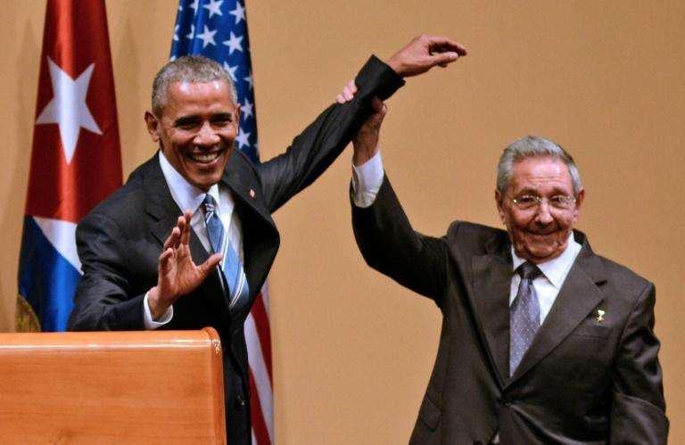 Following decades of Cold War tensions, Barack Obama and Raul Castro, pictured in 2016, in announced a warming of relations in December 2014