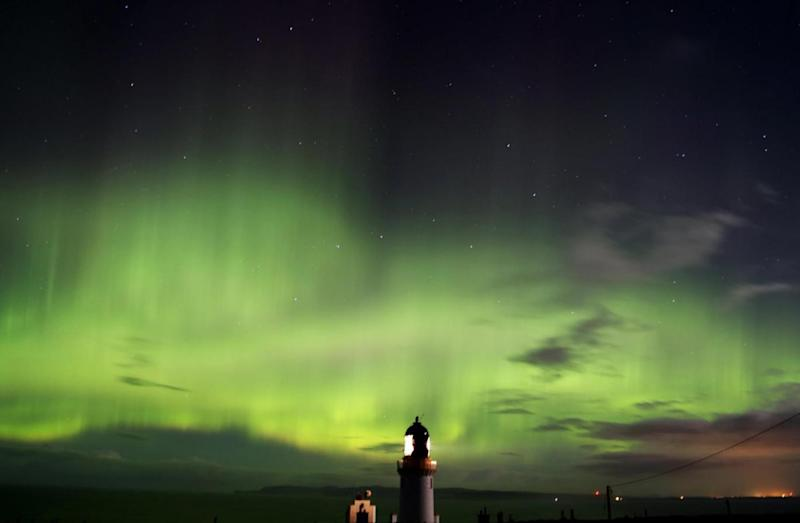 Amazing image: The Northern Lights spotted over Dunnet Head in Scotland (PA)