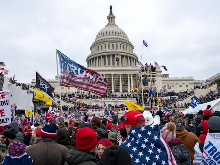 In this Jan. 6, 2021, file photo insurrections loyal to President Donald Trump rally at the U.S. Capitol in Washington.