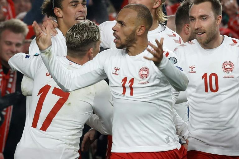 Martin Braithwaite (C) celebrates after putting Denmark ahead against Ireland - a 1-1 draw allowed the Danes to qualify for Euro 2020