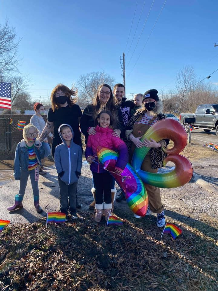 A Pride parade was organized by Chloe's friends and community to show support after she was expelled from her Christian school. Image via Facebook/KylieHolden.