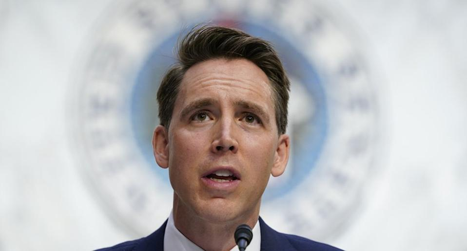Josh Hawley speaks during a confirmation hearing for Supreme Court nominee Amy Coney Barrett before the Senate Judiciary Committee on Capitol Hill in Washington.