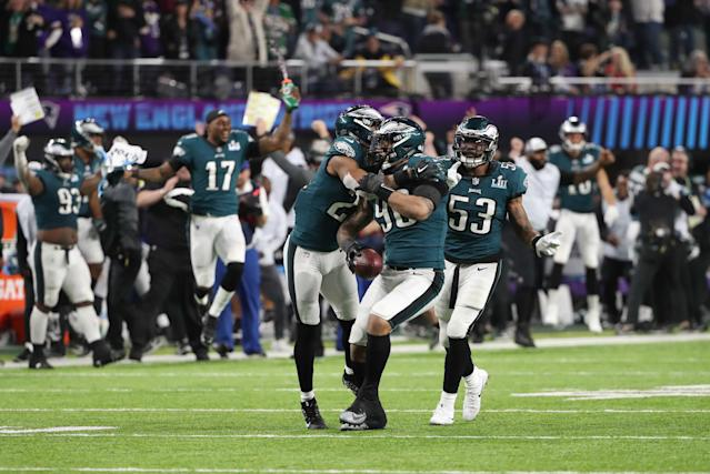 <p>Philadelphia Eagles' Derek Barnett celebrates winning Super Bowl LII with team mates. REUTERS/Chris Wattie </p>