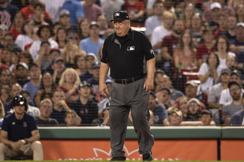 Joe West struggled to get back to his feet on Sunday night after Rajai Davis accidentally slid into him at home plate — and things got a little awkward.
