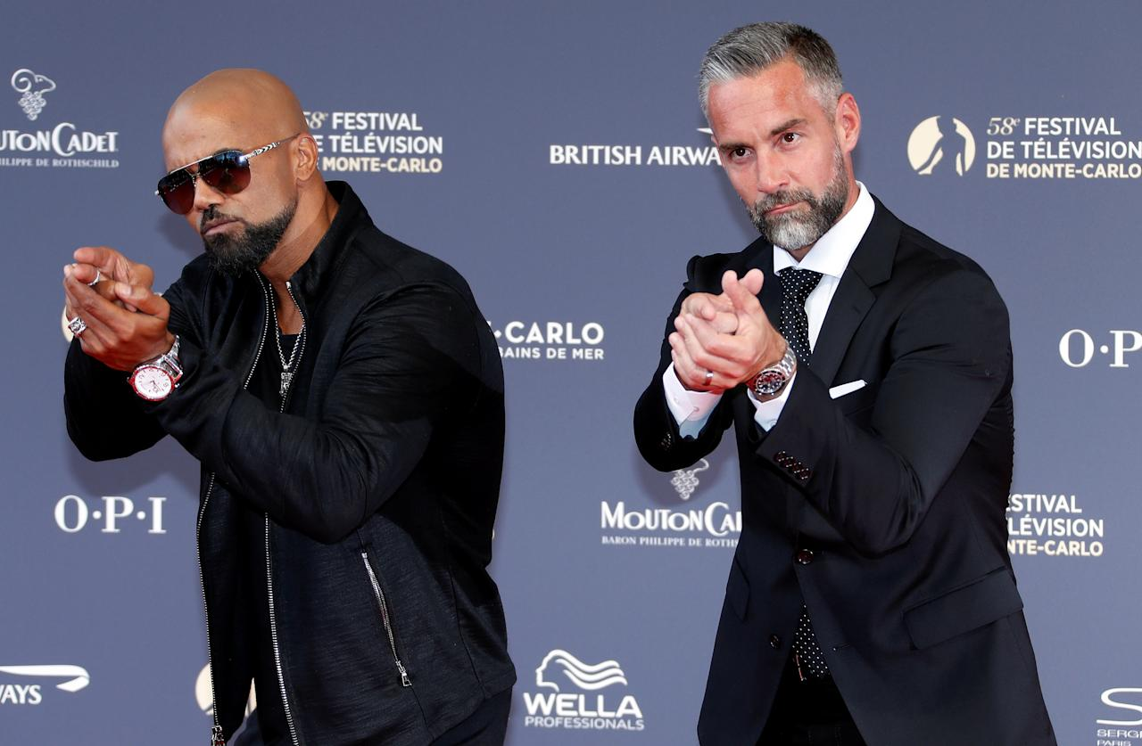 Actors Shemar Moore and Jay Harrington pose during the opening ceremony of the 58th Monte-Carlo Television Festival in Monaco, June 15, 2018. REUTERS/Eric Gaillard