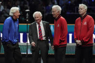 Team Europe's captain Bjorn Borg, left, chats with tennis great Rod Laver, middle, and Team World's captain John McEnroe and vice captain Patrick McEnroe, far right, after Laver Cup tennis competition, Sunday, Sept. 26, 2021, in Boston. (AP Photo/Elise Amendola)