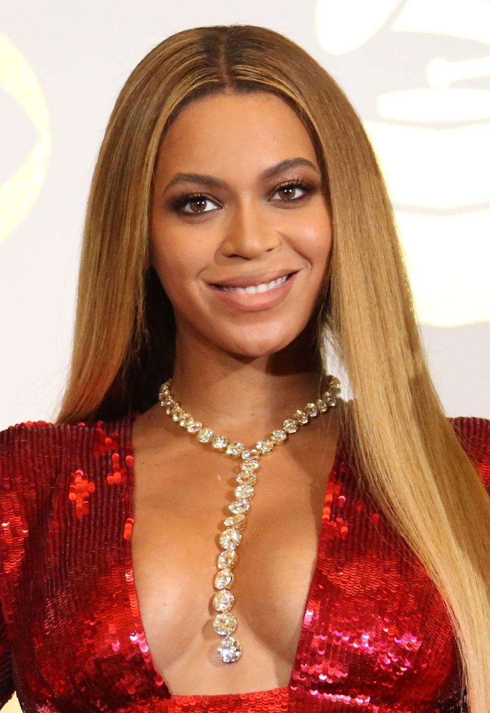"""<p>If you have medium to light brown hair, but want to go lighter, try Beyoncé's golden shade. It's an excellent option for the fall months, since it grows out gracefully, says Mahshid Baghaei, colorist at <a href=""""https://mizuforhair.com/newyork"""" rel=""""nofollow noopener"""" target=""""_blank"""" data-ylk=""""slk:mizu Louis Licari"""" class=""""link rapid-noclick-resp"""">mizu Louis Licari</a>.</p>"""