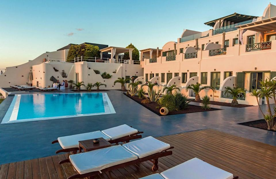 """<strong><a href=""""https://go.redirectingat.com/?id=&url=https%3A%2F%2Fwww.tripadvisor.com%2FHotel_Review-g635864-d324555-Reviews-Anastasis_Apartments-Imerovigli_Santorini_Cyclades_South_Aegean.html"""" target=""""_blank"""" rel=""""noopener noreferrer"""">This apartment-style hotel</a></strong>offers many of the little extras that take a trip from ordinary to extraordinary. It includes a hot tub, infinity pool, turn-down service and a steam room that truly makes a destination memorable."""
