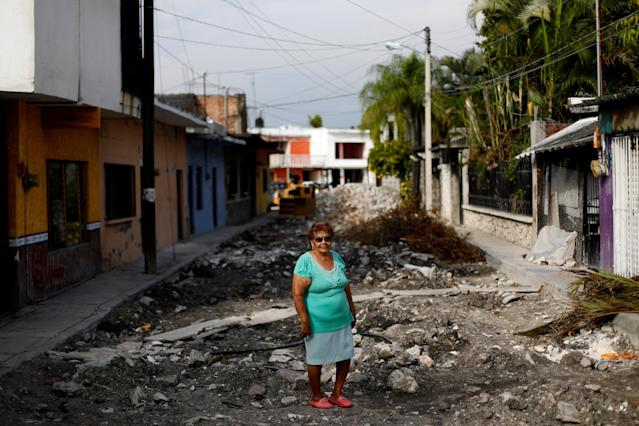 "<p>Maria Isabel Alvarado, 75, a housewife, poses for a portrait on a street outside her house after an earthquake in Jojutla de Juarez, Mexico, September 29, 2017. Her house suffered minor damage. ""I wanted nothing to happen to my family and my colonial dining room,"" Alvarado said. (Photo: Edgard Garrido/Reuters) </p>"