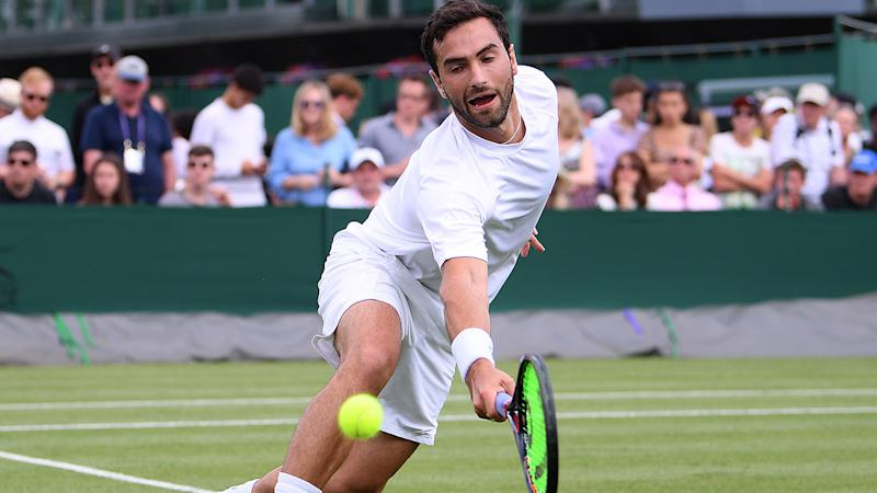 Noah Rubin, pictured here in action at Wimbledon in 2019.