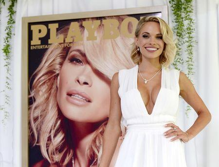 Dani Mathers, 28, the 2015 Playmate of the Year, poses during a luncheon on the garden grounds of the Playboy Mansion in Los Angeles