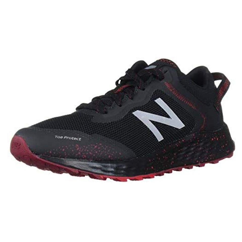 """<p><strong>New Balance</strong></p><p>amazon.com</p><p><strong>$64.95</strong></p><p><a href=""""https://www.amazon.com/dp/B07RGV11KM?tag=syn-yahoo-20&ascsubtag=%5Bartid%7C2139.g.33501651%5Bsrc%7Cyahoo-us"""" rel=""""nofollow noopener"""" target=""""_blank"""" data-ylk=""""slk:BUY IT HERE"""" class=""""link rapid-noclick-resp"""">BUY IT HERE</a></p><p>Trail running requires a different type of traction and support, and that's where the Arishi V1 trail running shoes come in. Per New Balance, the shoes have been constructed with durable AT Tread outsoles to provide versatile traction for both on and off-road activities. </p>"""