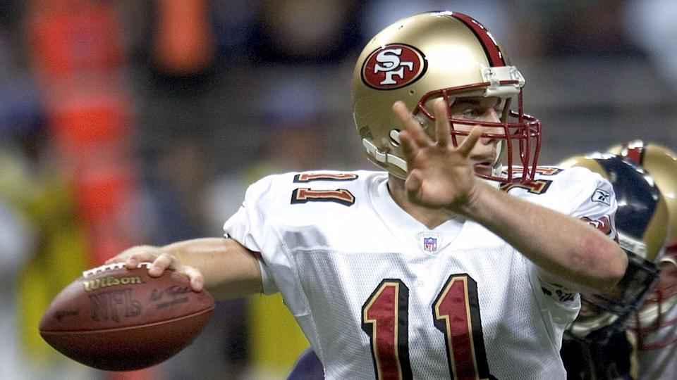 Mandatory Credit: Photo by Scott Rovak/EPA/Shutterstock (7840733i)San Francisco 49ers Quarterback Alex Smith Attempts a Pass Against the St Louis Rams at the Edward Jones Dome in St Louis Missouri Saturday 24 December 2005Usa Nfl 49ers - Rams - Dec 2005.