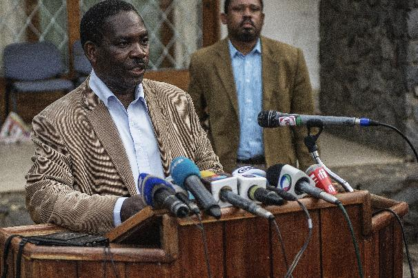 Mozambican opposition party, Mozambican National Resistance (RENAMO) spokesperson Antonio Muchanga, gives a press conference at the Party National Headquarters in Maputo on October 16, 2014