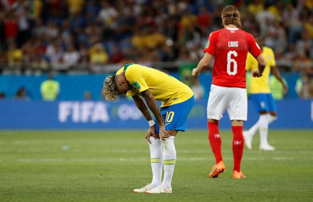 Soccer Football - World Cup - Group E - Brazil vs Switzerland - Rostov Arena, Rostov-on-Don, Russia - June 17, 2018 Brazil's Neymar looks dejected at the end of the match REUTERS/Damir Sagolj
