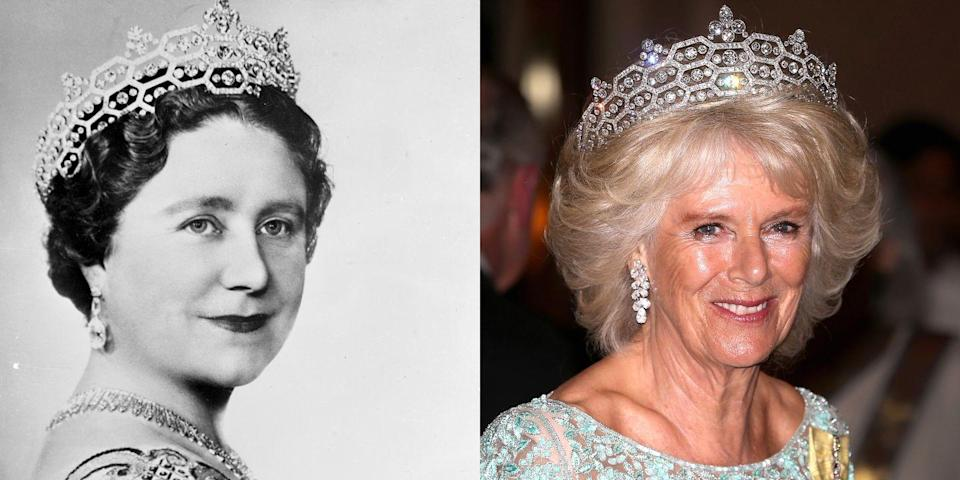 """<p>This <a href=""""http://www.dailymail.co.uk/femail/article-2321219/Queens-Speech-Duchess-Cornwall-glitters-Queen-Mothers-Boucheron-tiara.html"""" rel=""""nofollow noopener"""" target=""""_blank"""" data-ylk=""""slk:tiara"""" class=""""link rapid-noclick-resp"""">tiara</a> belonged to Dame Margaret Helen Greville, who gave it to The Queen Mother. It was loaned to the Duchess of Cornwall following her marriage to Prince Charles, and she wears it quite often.</p>"""