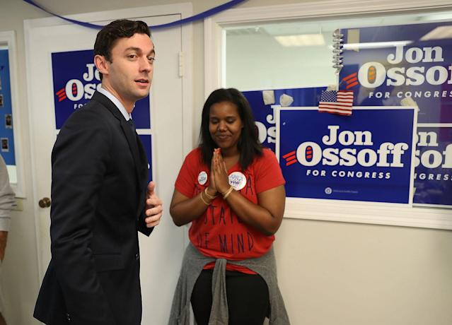<p>Democratic candidate Jon Ossoff visits a campaign office to speak with volunteers and supporters on Election Day as he runs for Georgia's 6th Congressional District on June 20, 2017 in Tucker, Ga. (Photo: Joe Raedle/Getty Images) </p>