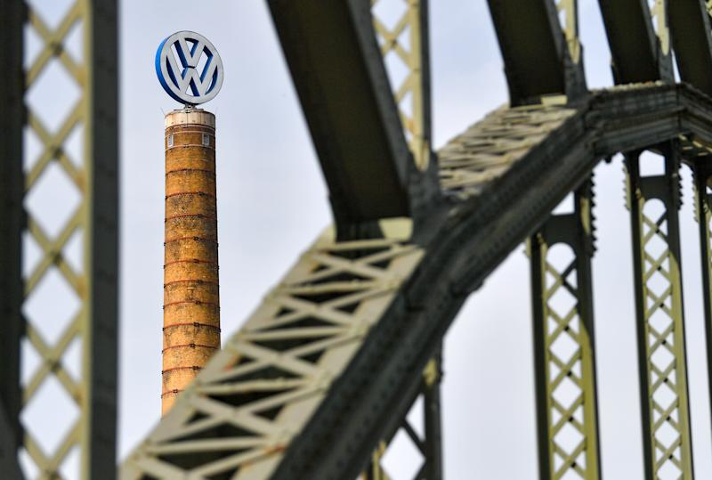 28 April 2020, Saxony-Anhalt, Halle (Saale): The Volkswagen logo turns on a chimney at the Volkswagen Centre in Halle/Saale. After a corona-related stop, Volkswagen gradually ramps up production at its plants again. Photo: Hendrik Schmidt/dpa-Zentralbild/dpa (Photo by Hendrik Schmidt/picture alliance via Getty Images)