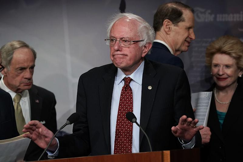 Sen. Bernie Sanders (I-Vt.) speaks at a March 7 news conference in which Senate Democrats introduced their $1 trillion infrastructure plan. (Alex Wong/Getty Images)