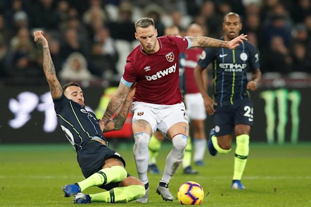 "Smiles ahead: Marko Arnautovic is ""happy"" at West Ham, according to Manuel Pellegrini: REUTERS"