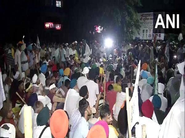 visual from the farmer protest in Karnal (Photo/ANI)