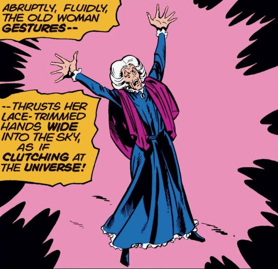 Agatha Harkness shouts at the sky in Marvel Comics.