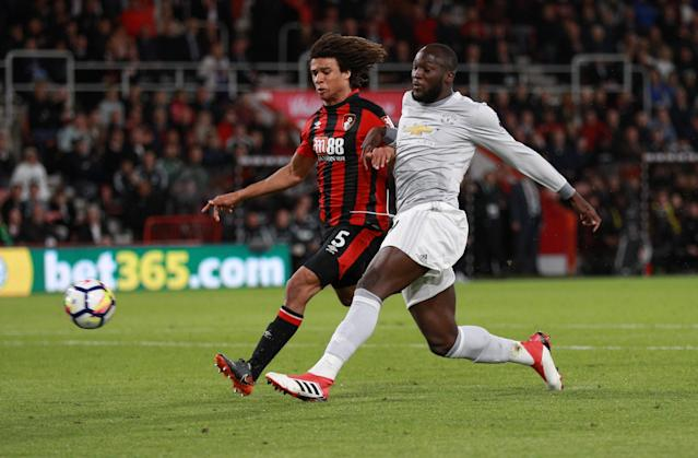 "Soccer Football - Premier League - AFC Bournemouth vs Manchester United - Vitality Stadium, Bournemouth, Britain - April 18, 2018 Manchester United's Romelu Lukaku scores their second goal REUTERS/Ian Walton EDITORIAL USE ONLY. No use with unauthorized audio, video, data, fixture lists, club/league logos or ""live"" services. Online in-match use limited to 75 images, no video emulation. No use in betting, games or single club/league/player publications. Please contact your account representative for further details."