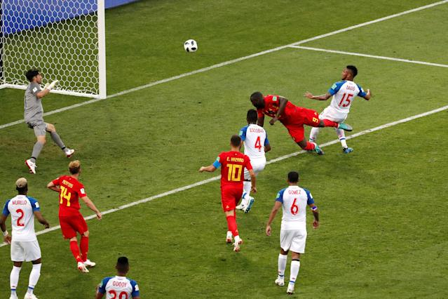 Soccer Football - World Cup - Group G - Belgium vs Panama - Fisht Stadium, Sochi, Russia - June 18, 2018 Belgium's Romelu Lukaku scores their second goal REUTERS/Carlos Garcia Rawlins