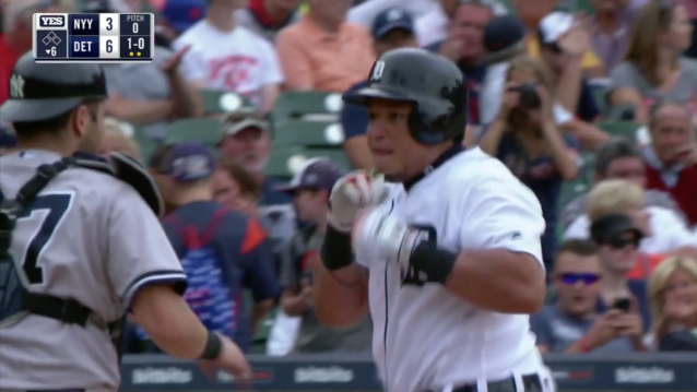 Miguel Cabrera sets up to punch Yankees catcher Austin Romine (YES)