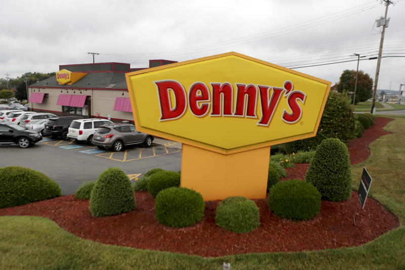 A large sign marks a Denny's restaurant, Thursday, Sept. 14, 2017, in Cranberry, Pa.(AP Photo/Keith Srakocic)