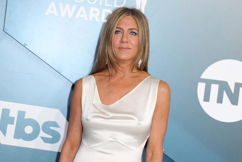 Jennifer Aniston attends 26th Annual Screen Actors Guild Awards at The Shrine Auditorium on January 19, 2020 in Los Angeles, California. (Photo by Leon Bennett/Getty Images)