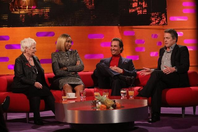 Dame Judi Dench with Jennifer Hudson, Matthew McConaughey and Hugh Grant filming the Graham Norton Show