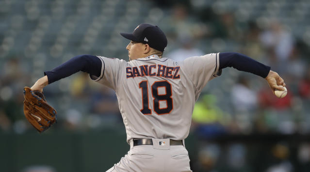 Houston Astros pitcher Aaron Sanchez works against the Oakland Athletics during the first inning of a baseball game Thursday, Aug. 15, 2019, in Oakland, Calif. (AP Photo/Ben Margot)