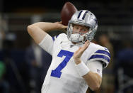 FILE - In this Aug. 29, 2019, file photo, Dallas Cowboys' Cooper Rush warms up before a preseason NFL football game against the Tampa Bay Buccaneers in Arlington, Texas. The Cowboys will have their fourth different starting quarterback of the season against undefeated Pittsburgh with Andy Dalton unavailable because of COVID-19 protocols. Coach Mike McCarthy said Wednesday he was benching rookie Ben DiNucci in favor of either Garrett Gilbert or Cooper Rush. Gilbert and Rush will compete for the job in practice, and one will start Sunday at home against the Steelers (7-0). (AP Photo/Ron Jenkins, File)