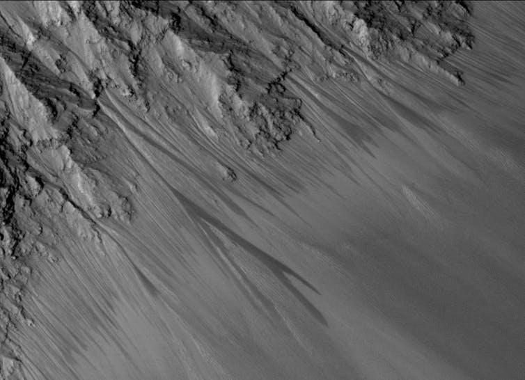 Dark streaks on a Mars canyon wall, which may be most.