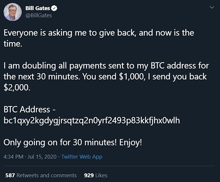 Bill Gates' hacked Twitter account