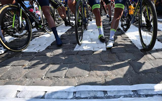 Riders line up inCompiègne ahead of Sunday's race - AFP or licensors