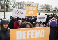 <p>Immigrants and activists protest near the White House to demand that the Department of Homeland Security extend Temporary Protected Status (TPS) for more than 195,000 Salvadorans on Jan. 8, 2018 in Washington. (Photo: Andrew Caballero-Reynolds/AFP/Getty Images) </p>