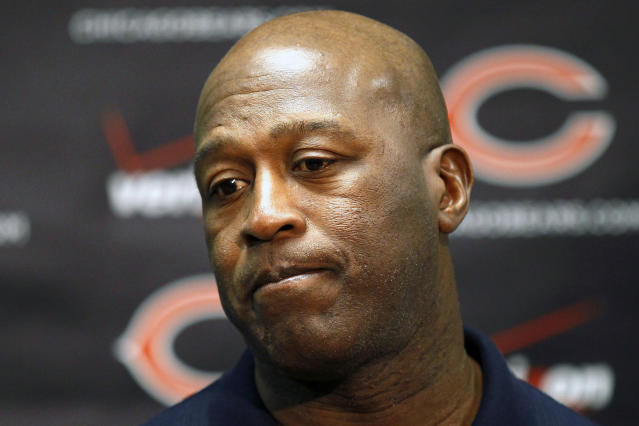 FILE - In this Nov. 21, 2011, file photo, Chicago Bears head coach Lovie Smith speaks at a news conference in Lake Forest, Ill. Smith's coaching tenure in Chicago may not have ended had the Bears made the playoffs his final three seasons instead of missing out by one spot his last two years. (AP Photo/Charles Rex Arbogast, File)