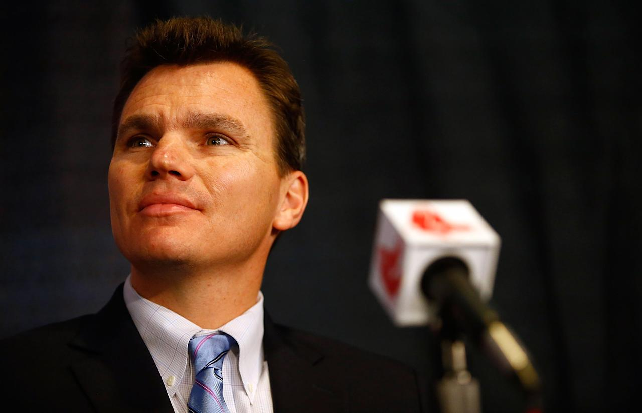 BOSTON, MA - OCTOBER 23:  Executive Vice President and General Manager of the Boston Red Sox, Ben Cherington, listens after introducing John Farrell as the new manager, the 46th manager in the club's 112-year history, on October 23, 2012 at Fenway Park in Boston, Massachusetts.  (Photo by Jared Wickerham/Getty Images)