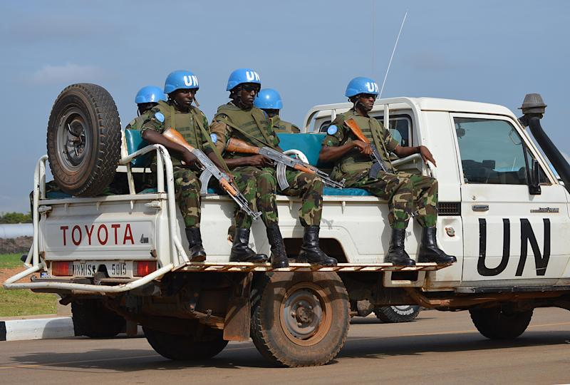 UN peace keepers on August 12, 2014 in the South Sudanese capital Juba