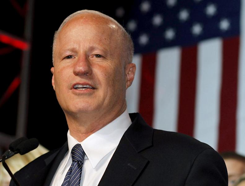 FILE - In this Nov. 6, 2012 file photo, Rep. Mike Coffman, R-Colo. speaks in Denver. The ad seems like an artifact from an earlier political era. An online spot from the Colorado Republican Party appeared only hours after Gov. John Hickenlooper last month indefinitely suspended the death sentence of a man who killed four people in 1993 and was scheduled to be executed in August. It is evidence of the slow political re-emergence of crime, what was once a powerful campaign issue that for two decades has been eclipsed by other economic and social issues. (AP Photo/David Zalubowski, File)
