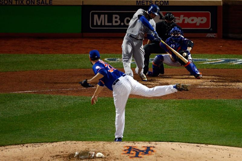 Eric Hosmer of the Kansas City Royals hits a double in to left field off a pitch by New York Mets' Matt Harvey during Game Five of the 2015 World Series at Citi Field on November 1, 2015 (AFP Photo/Mike Stobe)