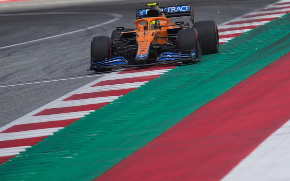 Mclaren driver Lando Norris of Britain steers his car during the first practice at the Red Bull Ring racetrack in Spielberg, Austria, Friday, June 25, 2021. The Styrian Formula One Grand Prix will be held on Sunday, June 27, 2021 - AP Photo/Darko Vojinovic